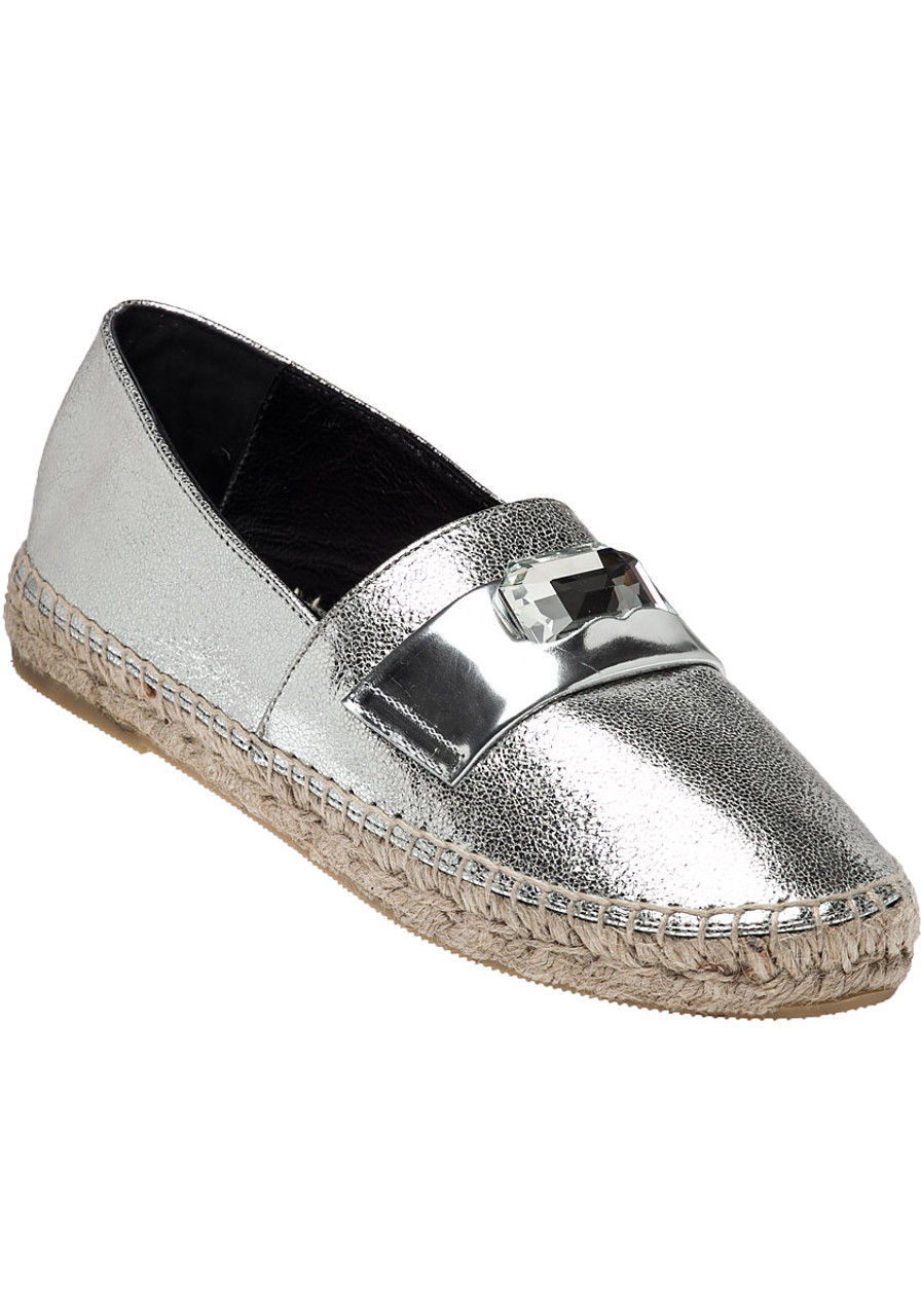 7d5d87ec454a Etoile Silver Cracked Leather Espadrille - Jildor Shoes