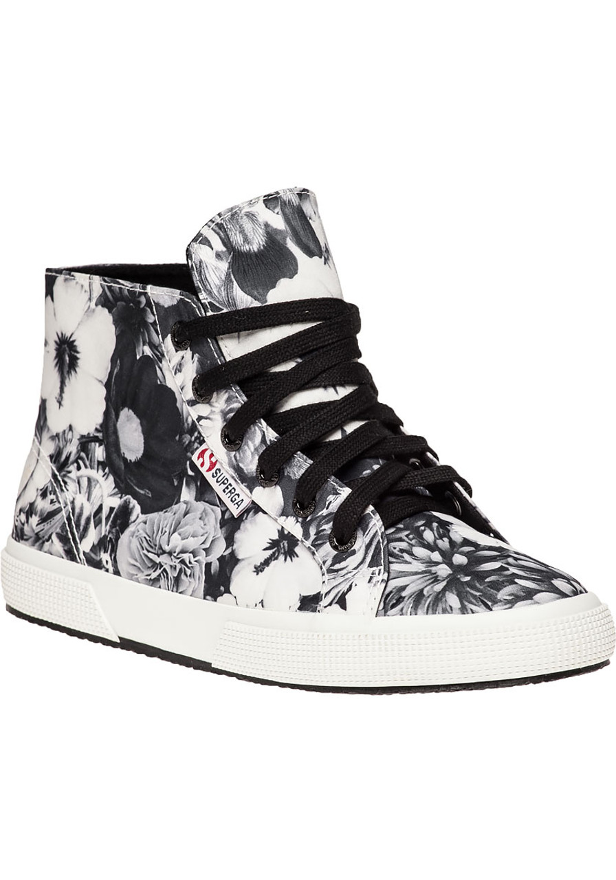 8638355c4b Black and White Floral Print Sneaker - Jildor Shoes