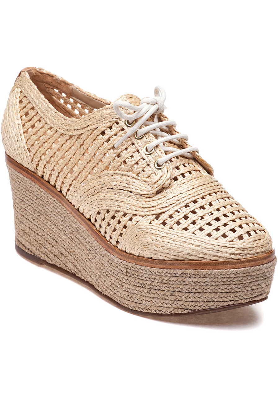 c087e72d4c Jules Natural/Light Wood Raffia Platform Oxford - Jildor Shoes