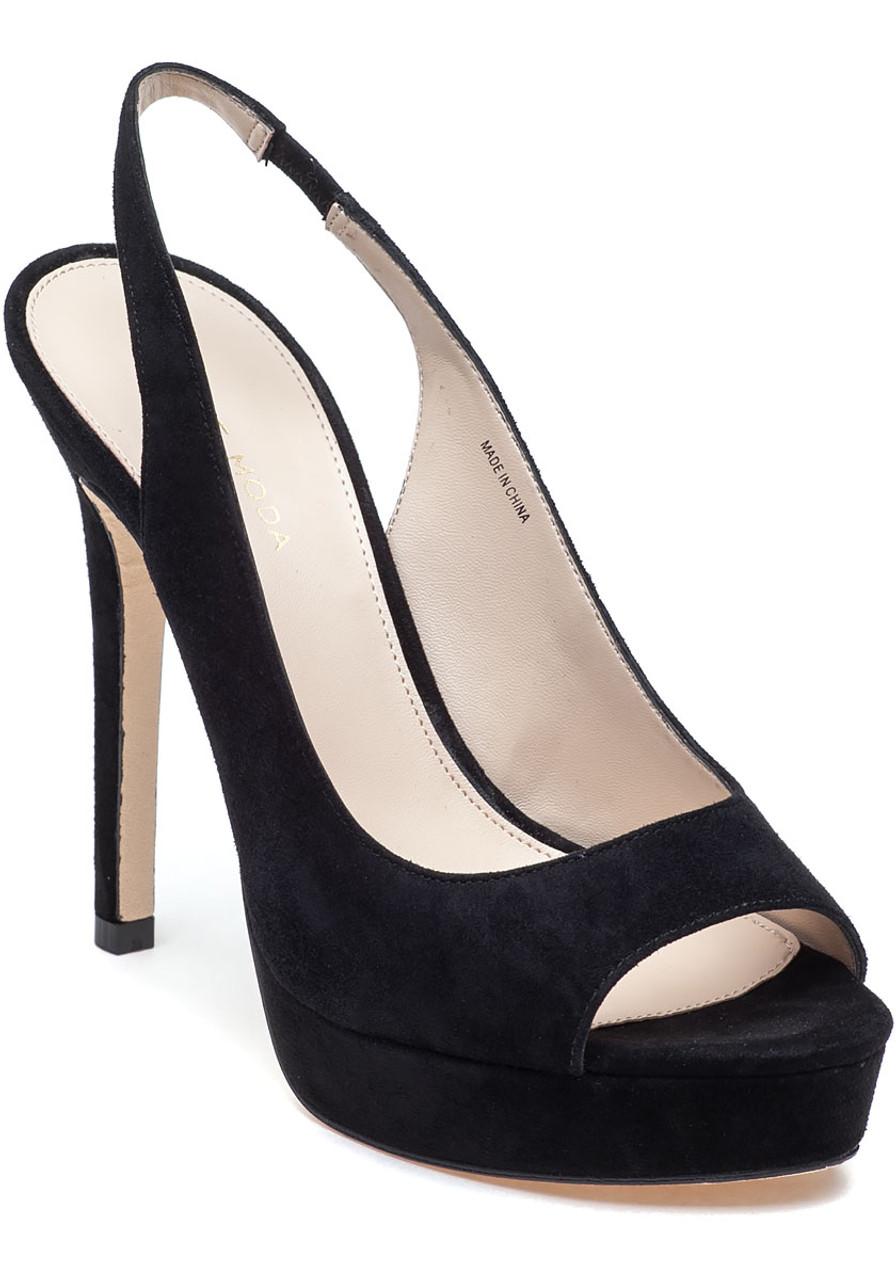 d123f863f1b Oana Slingback Platform Sandal Black Suede - Jildor Shoes
