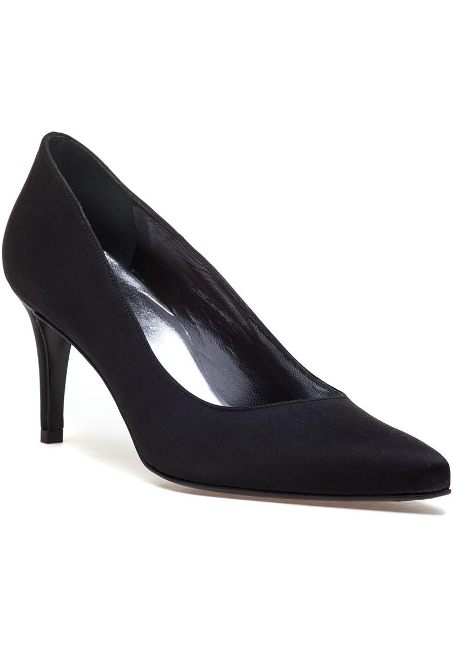 6eb8e3b4923 Pinot Black Satin Pump - Jildor Shoes