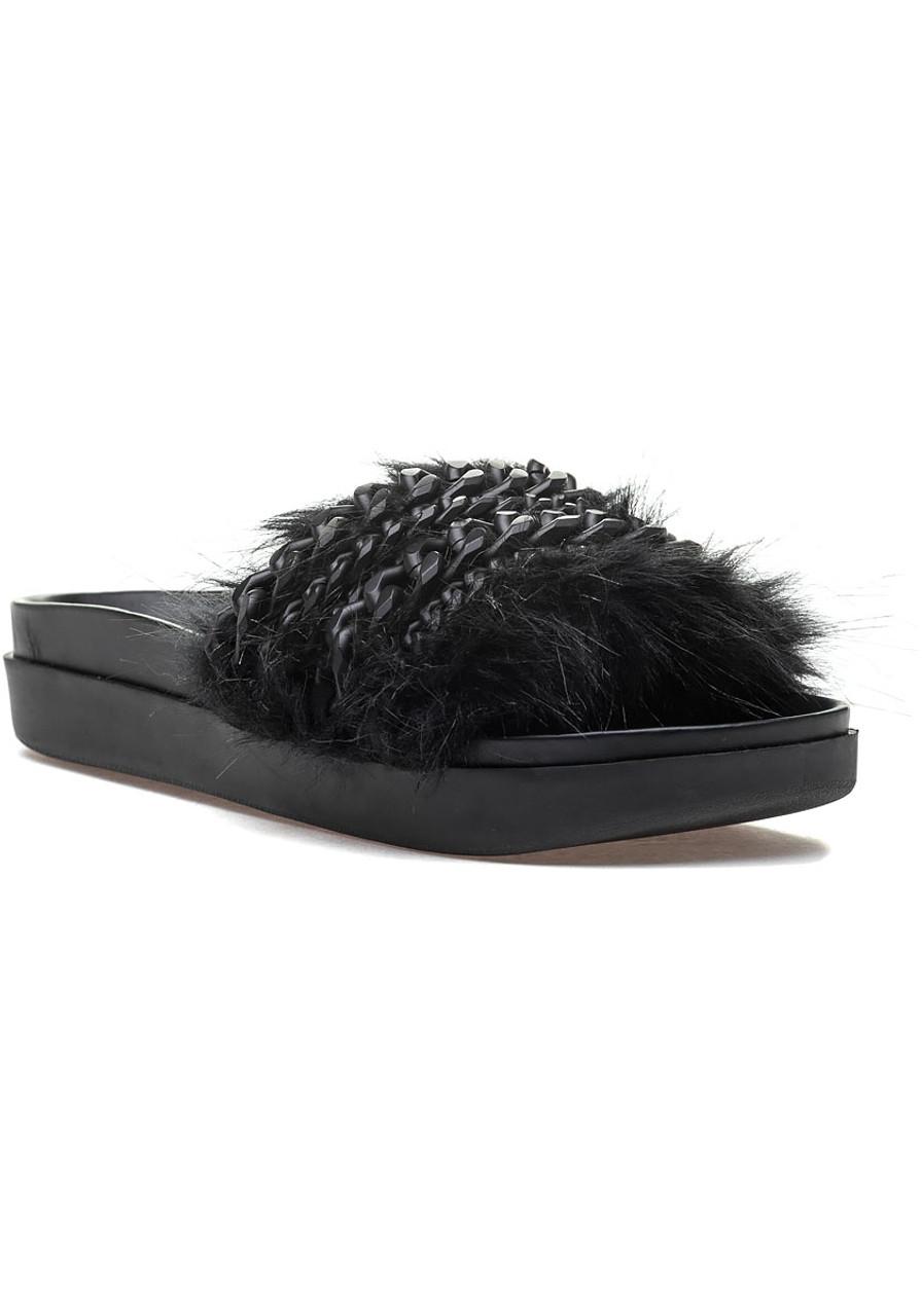 0aaf0cdd12a Sammy Black Fur Slide - Jildor Shoes