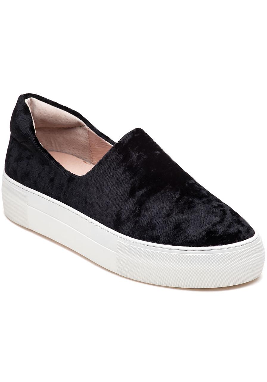 4c078e9fdad8 Angel Black Velvet Slip On Sneaker - Jildor Shoes