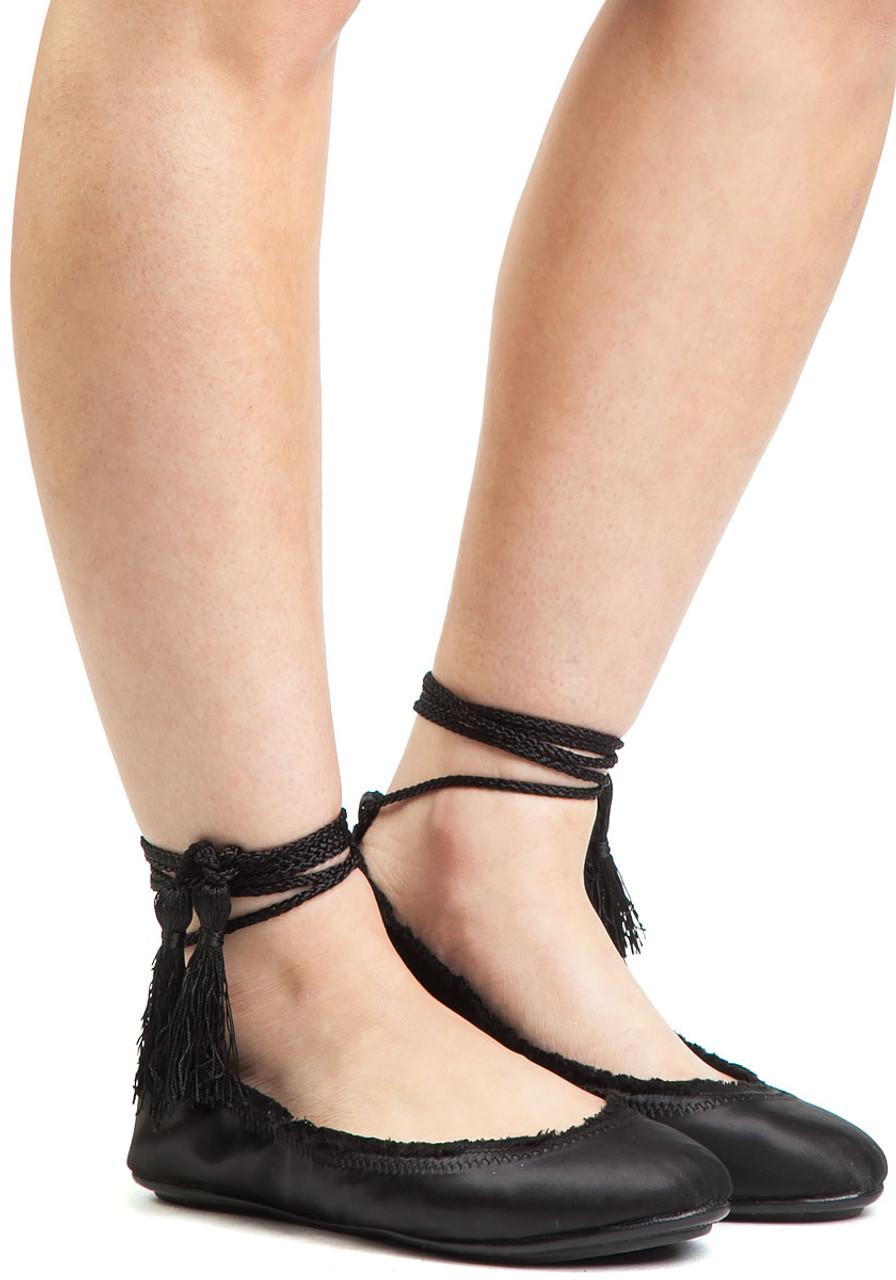9a89e6b83 Bandele Ballet Flat Black Satin - Jildor Shoes