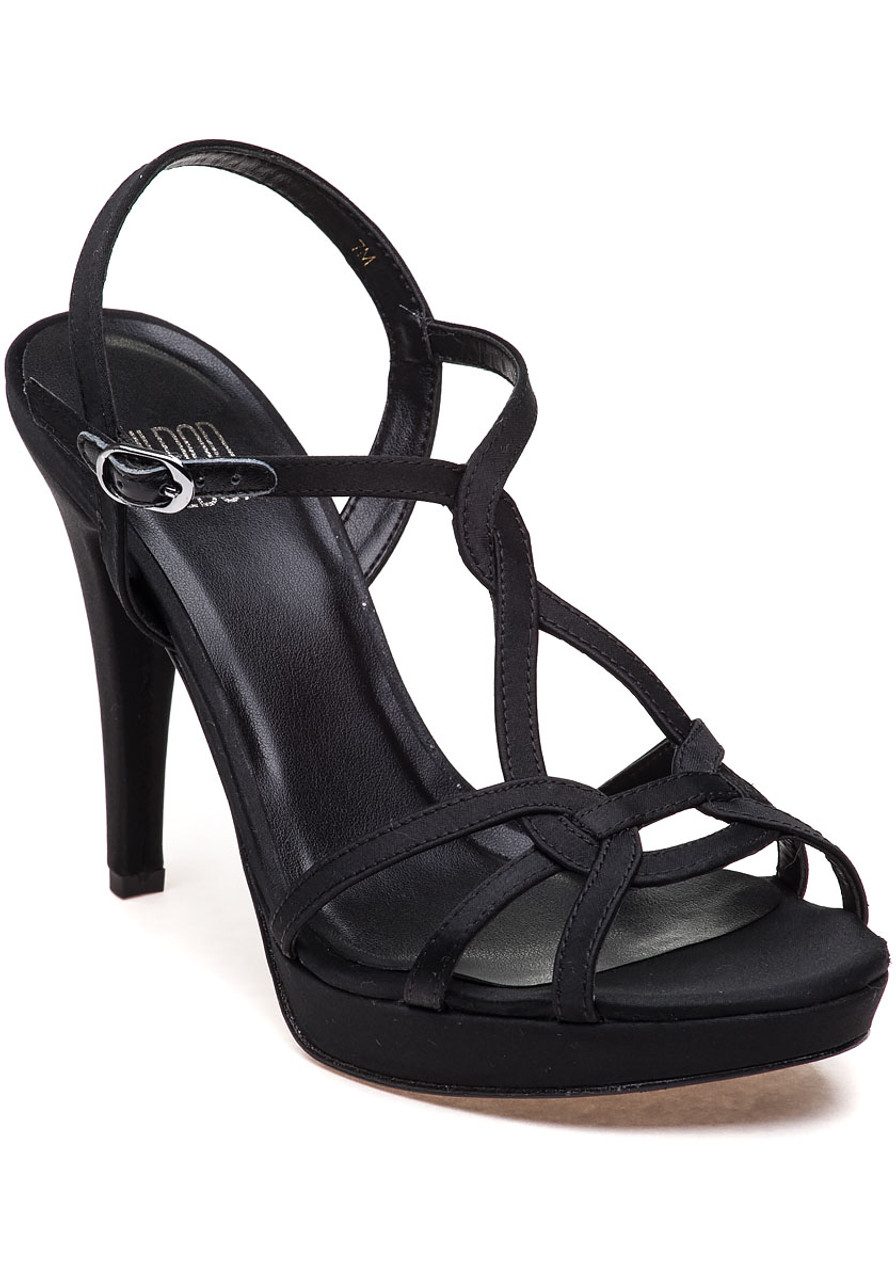 Quiz Evening Sandal Black Satin - Jildor Shoes