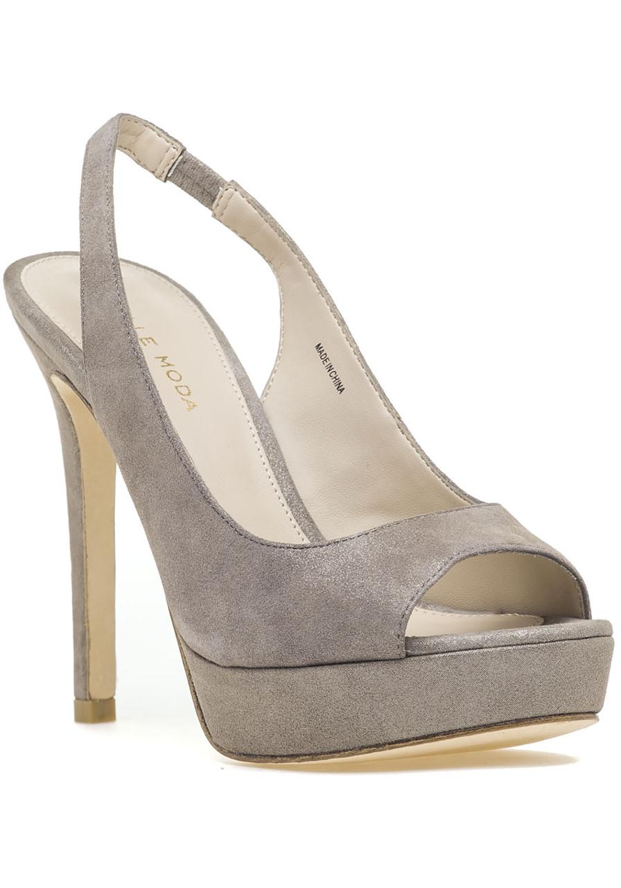 e19eed6e756 Oana Slingback Platform Sandal Taupe Shimmer Suede - Jildor Shoes