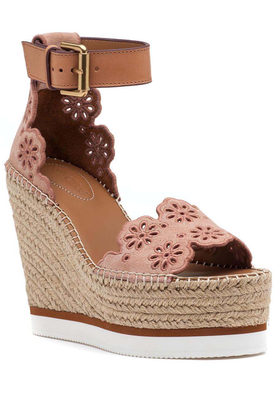 e06604a9a46 Glyn Espadrille Wedge Cipria Suede - Jildor Shoes