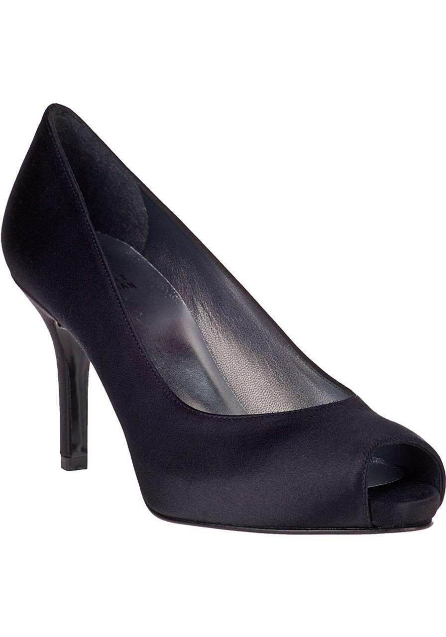 b8c527d50b6 Polished Evening Pump Black Satin - Jildor Shoes