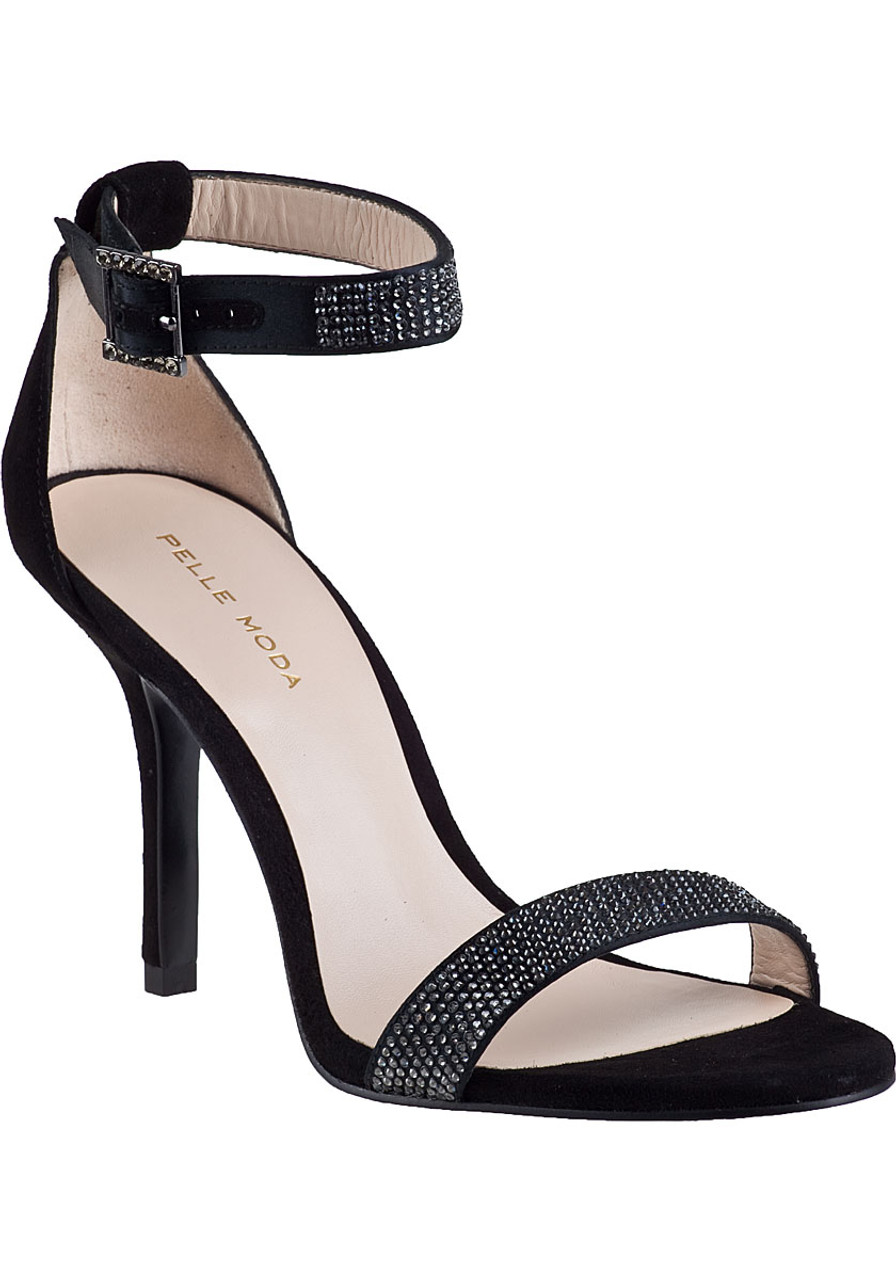 Kacey Evening Sandal Black Suede - Jildor Shoes