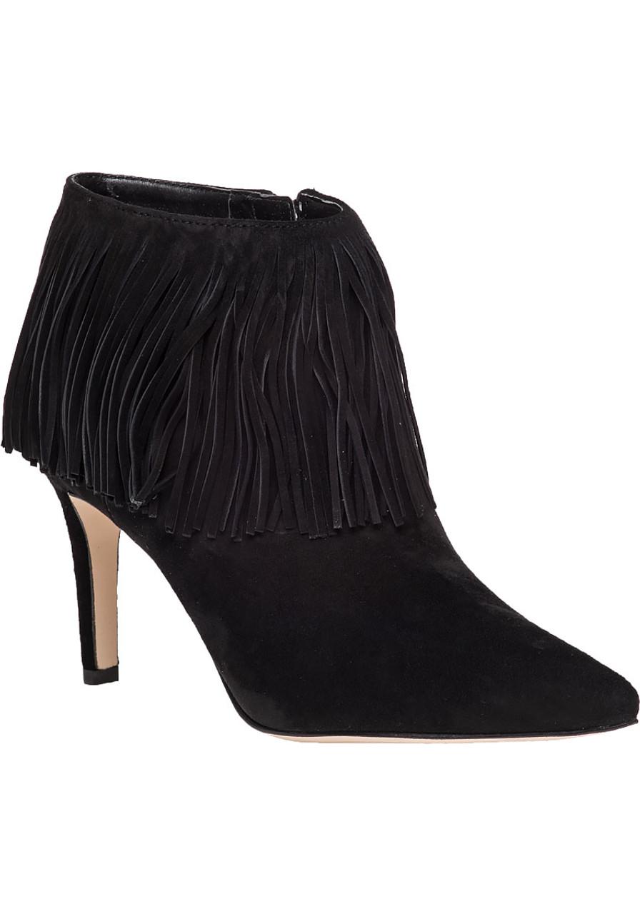 ff7f1ee100ae Kandice Black Suede Fringe Bootie - Jildor Shoes