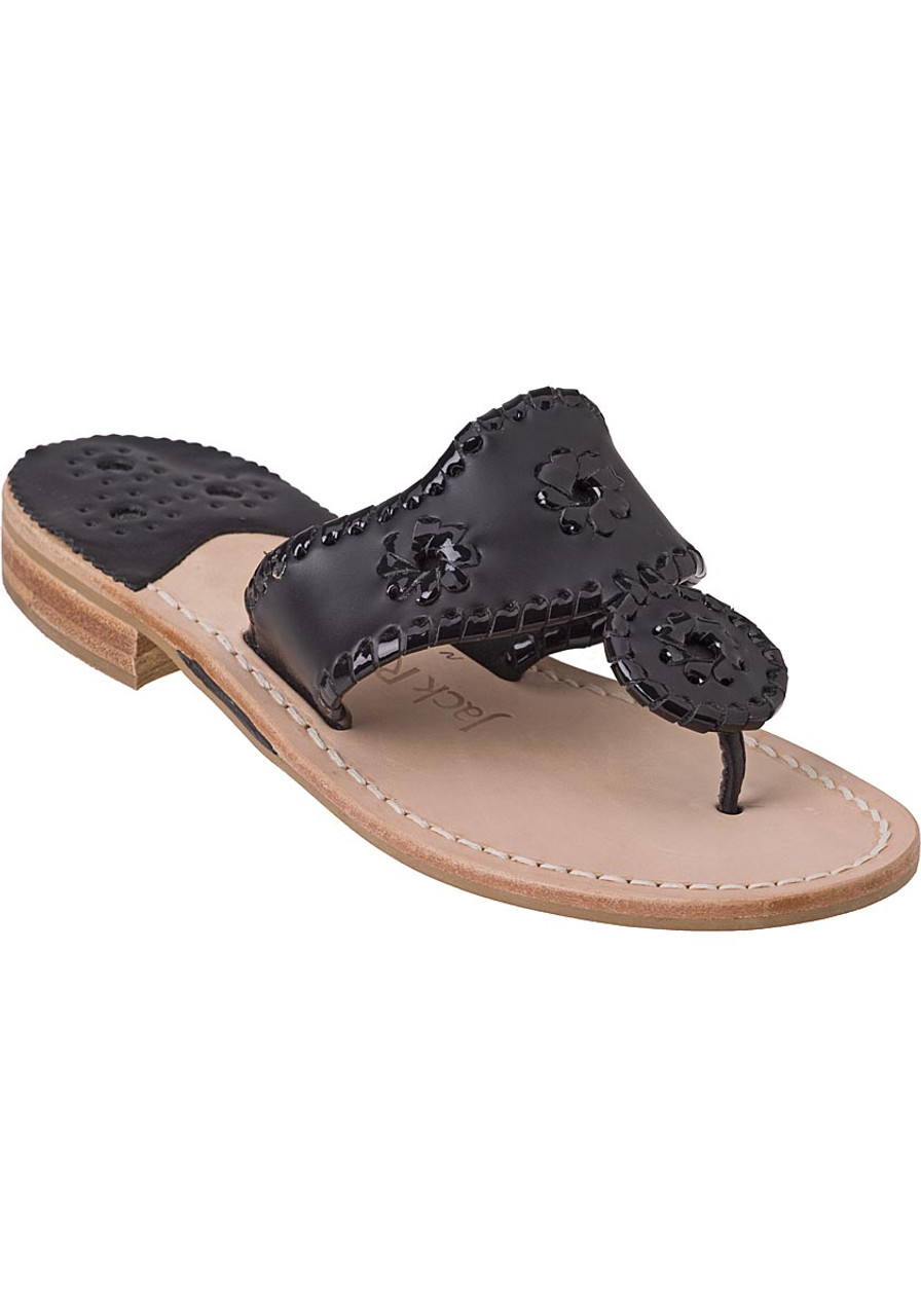 bd0e29e0d6d7 Palm Beach Thong Sandal Black Leather - Jildor Shoes