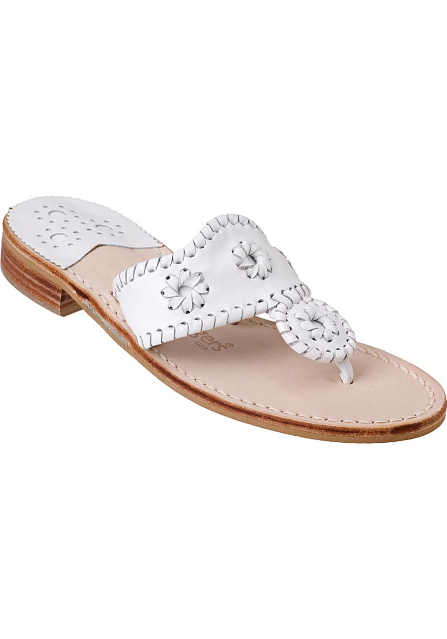 c46f4b1be31a50 Palm Beach Thong Sandal White Leather - Jildor Shoes