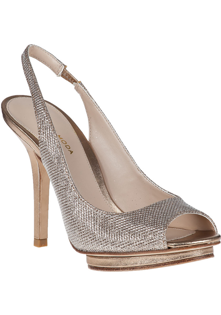 20bd14eea0459 Rivka Evening Pump Platinum Fabric - Jildor Shoes