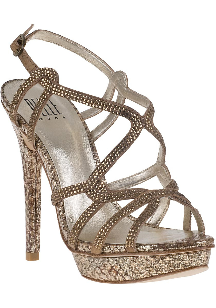 Flirt Evening Sandal Bronze Snake - Jildor Shoes