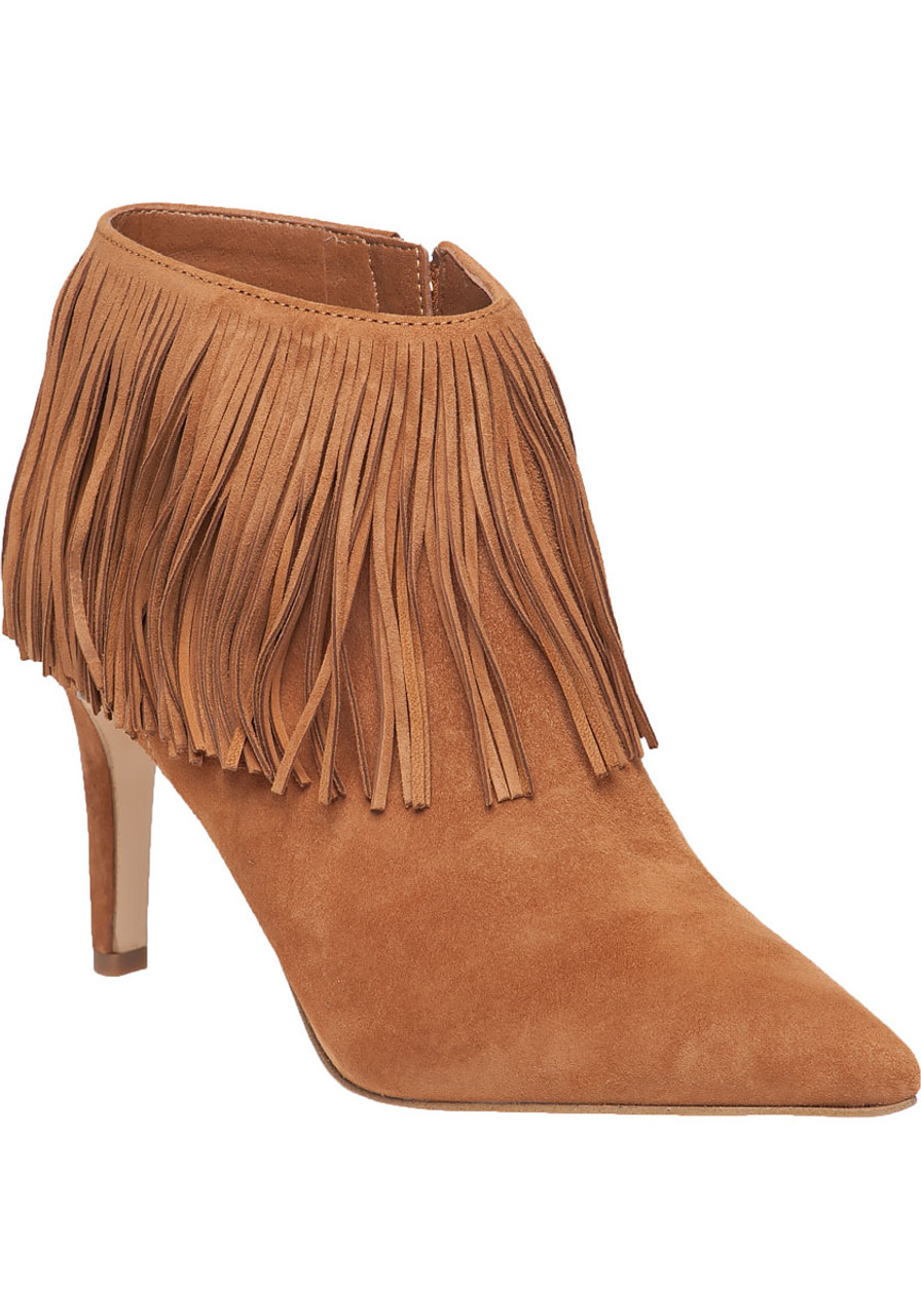 e2443eeac66a Kandice Saddle Suede Fringe Bootie - Jildor Shoes