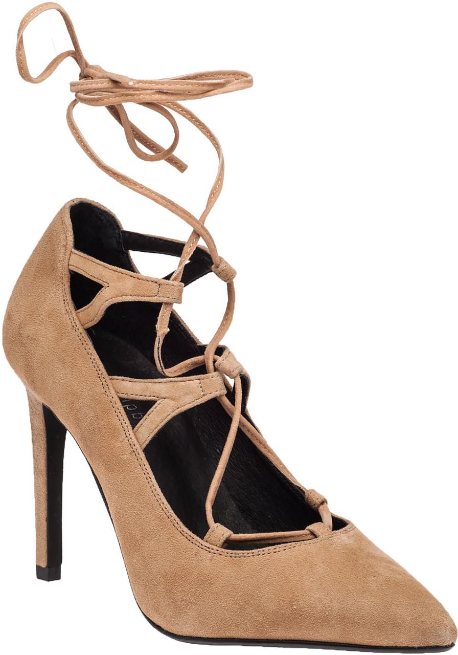 fa28624fb77 Brielle Hi Camel Suede Lace-Up Pump - Jildor Shoes