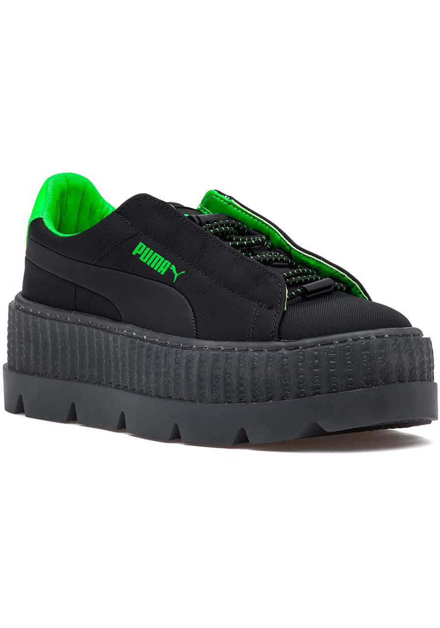 size 40 6c6c0 0b10e FENTY x Puma Cleated Creeper Sneaker Black-Green Gecko
