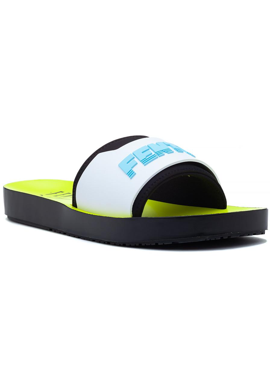 36d00906815e FENTY x Puma Surf Slide Black White Yellow - Jildor Shoes