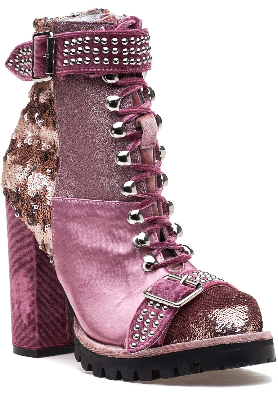dff3222d315f Lilith-2 Lilac Pink Lace Up Boot - Jildor Shoes