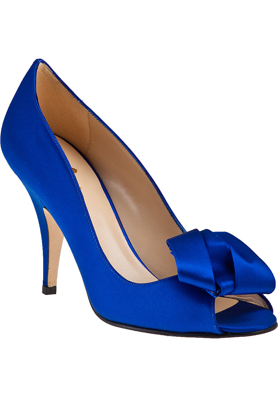 24805e56bf76 Clarice Evening Pump Cobalt Satin - Jildor Shoes