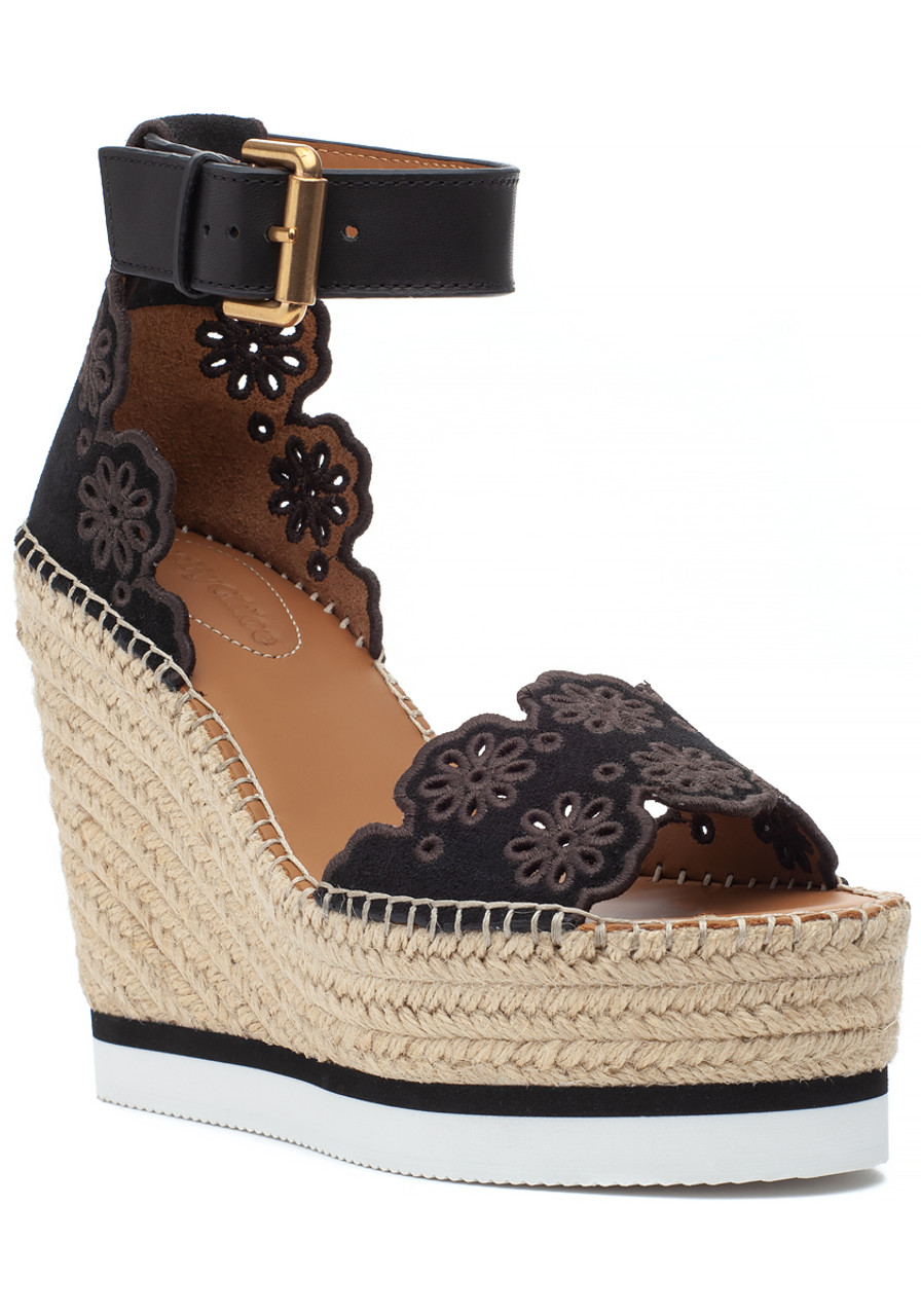 a98f9cfc1be Glyn Espadrille Wedge Black Suede - Jildor Shoes