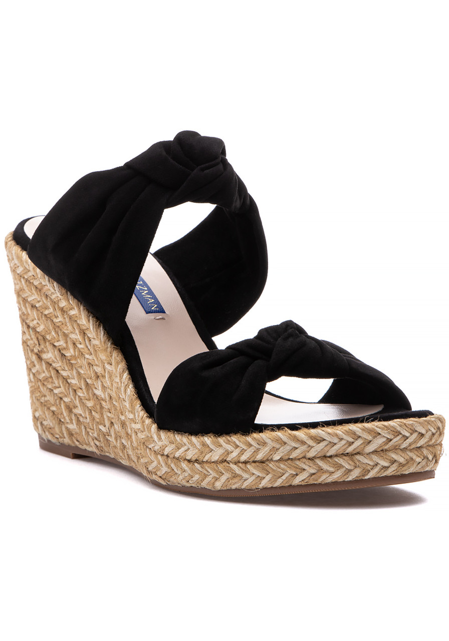 8c976245594 Sarina Espadrille Wedge Black Suede - Jildor Shoes