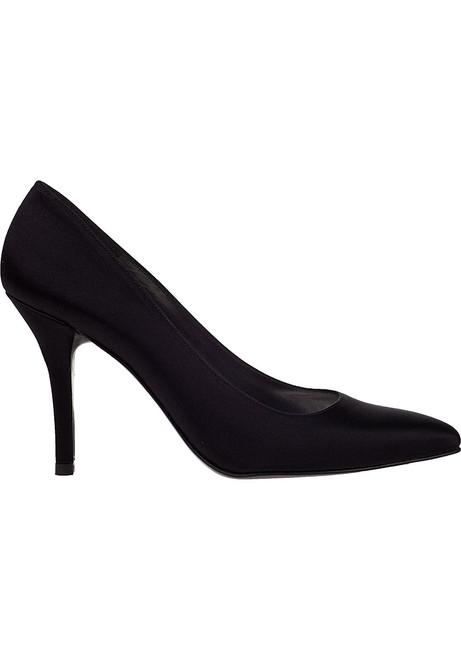 72b723ce1bd Power Evening Pump Black Satin - Jildor Shoes