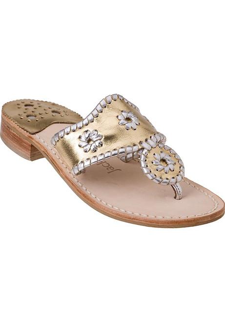 5ec2ca26ebb63b Navajo Thong Sandal Silver Gold Leather.  110.00. Jack Rogers