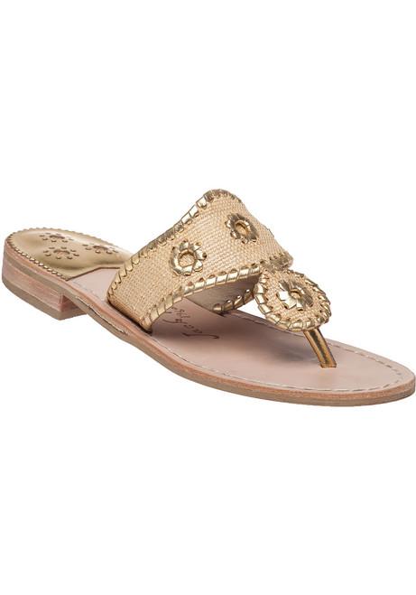 6a98c7c8a3d7 JacksRaffia Gold Fabric Flip Flop
