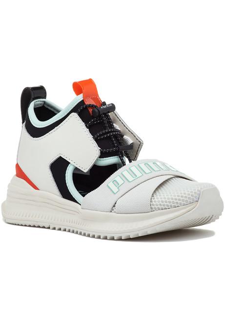 a0a1913e018d1c FENTY x Puma Surf Slide Black White Yellow - Jildor Shoes