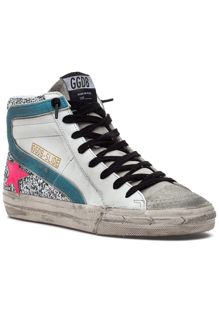 Slide Sneaker White/Silver Glitter/Neon