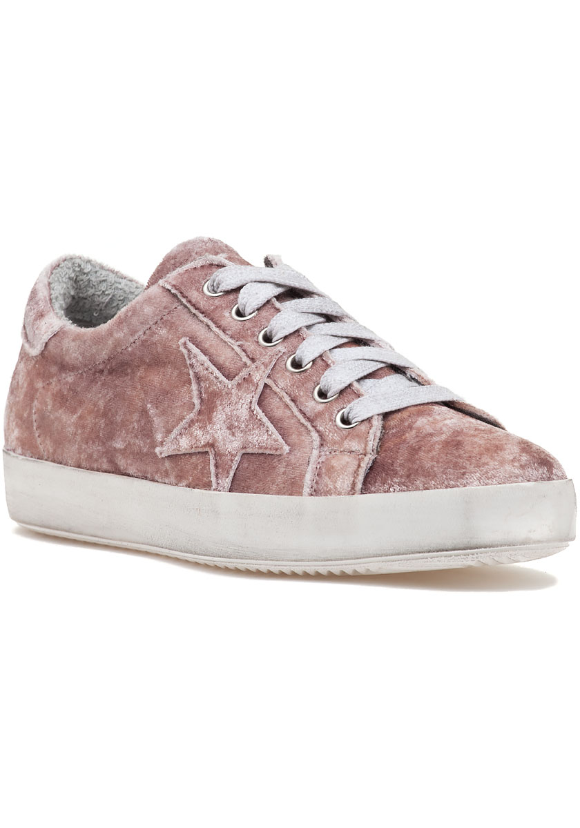In 1769 Lace Up Sneaker Pink Velvet