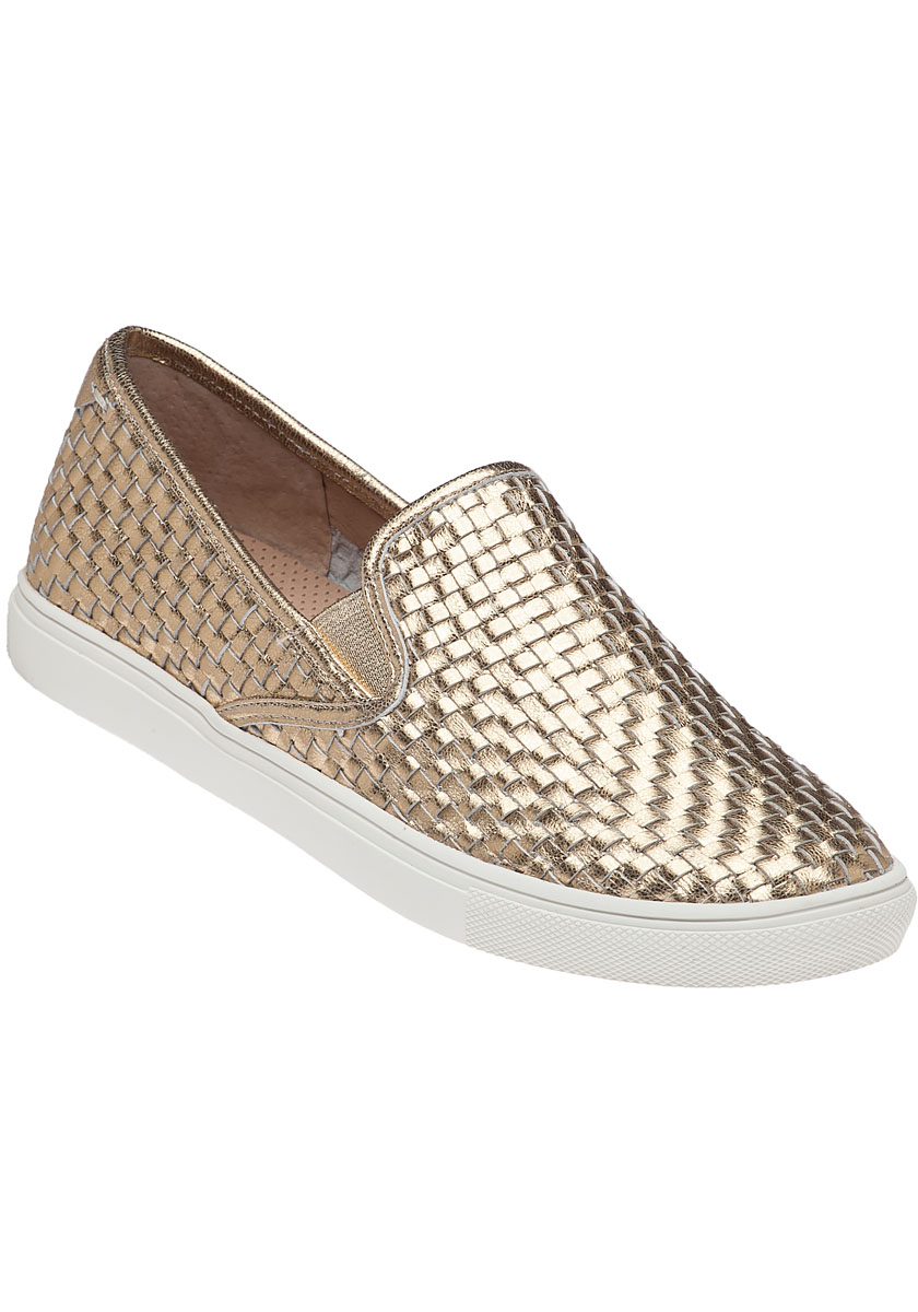 Calina Gold Leather Slip On - Jildor Shoes