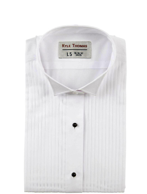 Shirt | Wing Tip 1/4 Inch Pleats | (White)