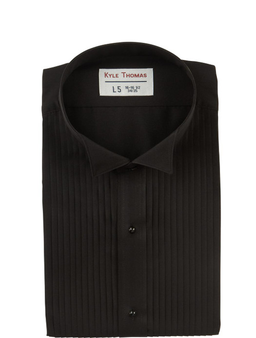 Shirt | Wing Tip 1/4 Inch Pleats | (Black)