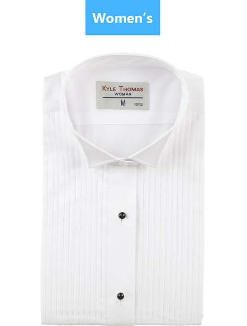 Shirt | Women's | Wing Tip 1/4 Inch Pleat | (White)