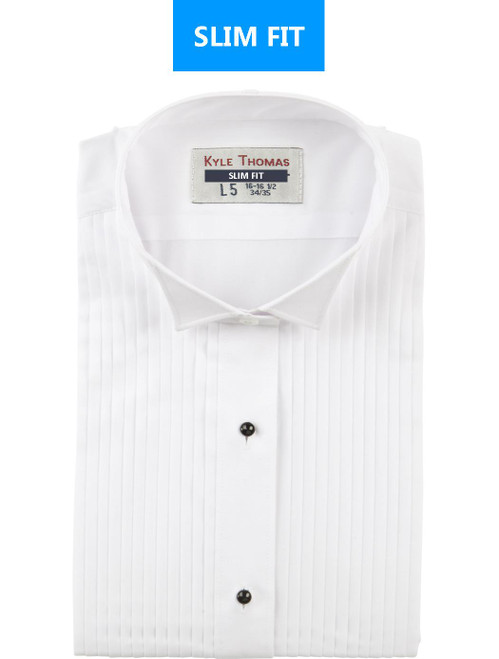 Shirt | Wing Tip 1/4 Inch Pleat | (White) | SLIM FIT