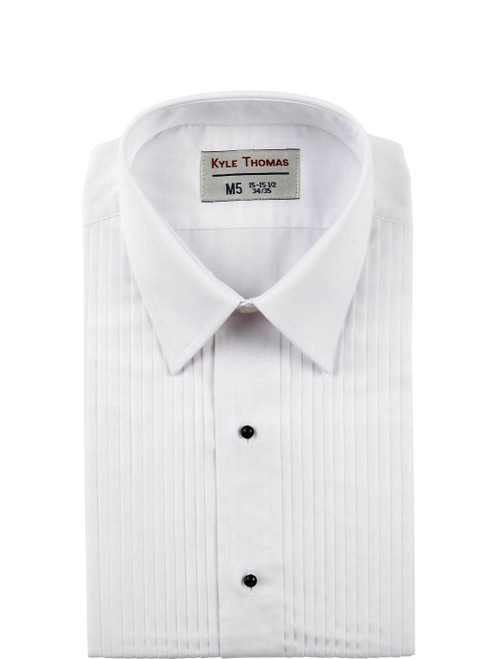 Shirt | Lay Down 1/4 Inch Pleat | (White)