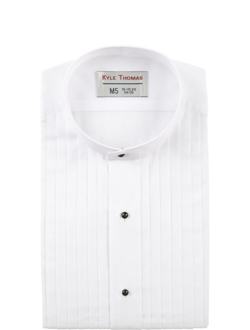 Shirt | Banded Collar 1/2 Inch Pleat | (White)