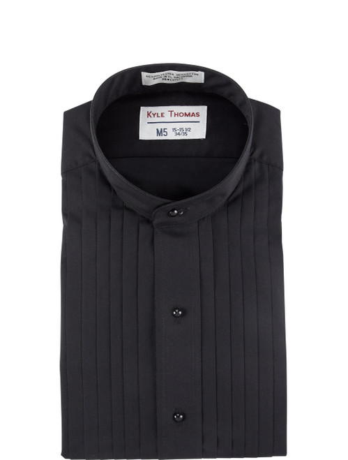 Shirt |Banded Collar 1/2 Inch Pleat | (Black)
