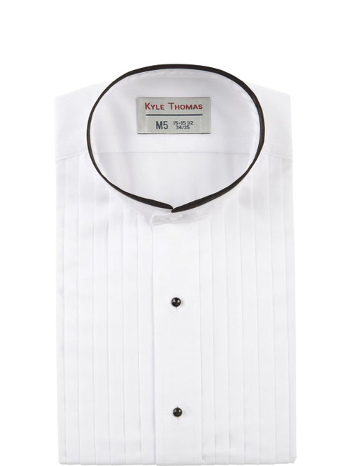 Shirt | Banded Collar 1/2 Inch Pleat Tuxedo | (White with Black Trim)