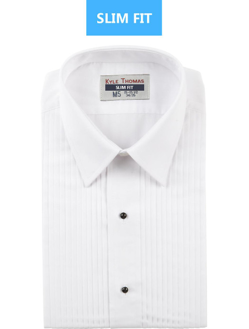 Shirt | Lay Down 1/4 Inch Pleat | (White) | SLIM FIT