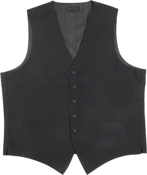 Vest - Men's 5 Button Polyester Poplin (Black Only) - Kyle Thomas