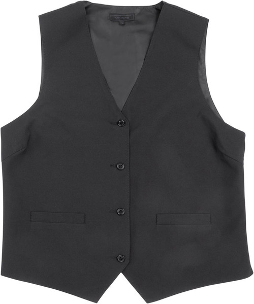Vest - Women's 4 Button Polyester Poplin (Black Only)  - Kyle Thomas
