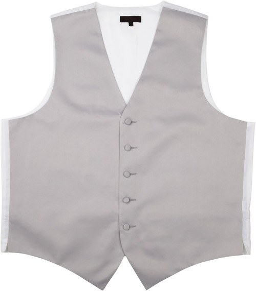 Vest - Classic Collection 5 Button Satin Fullback (Silver) - Kyle Thomas