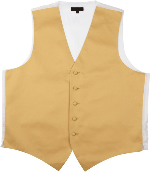 Vest - Classic Collection 5 Button Satin Fullback (Gold) - Kyle Thomas