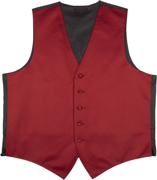 Vest - Classic Collection 5 Button Satin Fullback (Dark Red) - Kyle Thomas