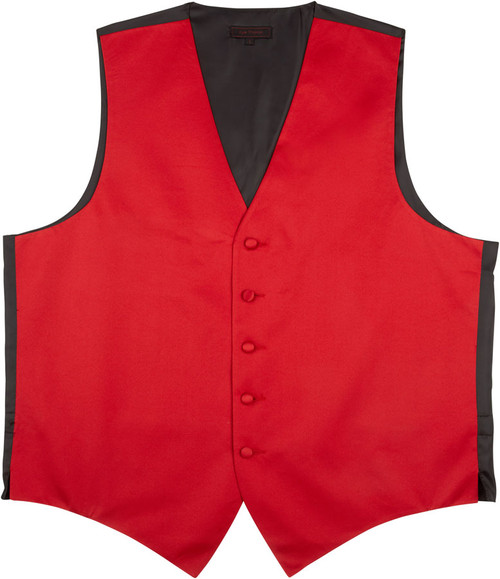 Vest - Classic Collection 5 Button Satin Fullback (Red) - Kyle Thomas