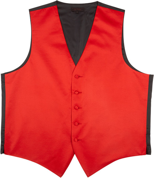 Vest - Classic Collection 5 Button Satin Fullback (Bright Red) - Kyle Thomas