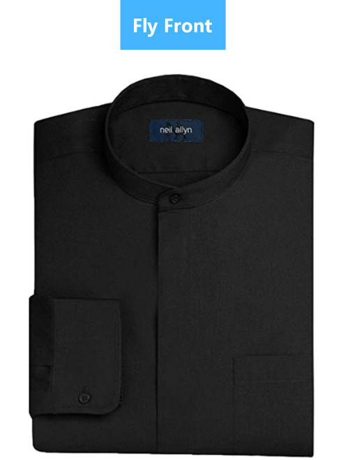 Shirt | Banded Collar | Fly Front | (Black)
